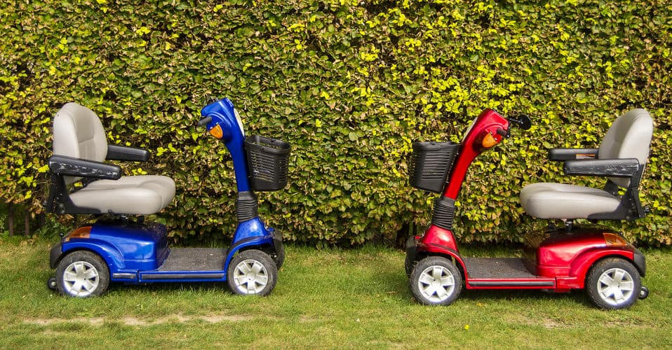 Two mobility scooters