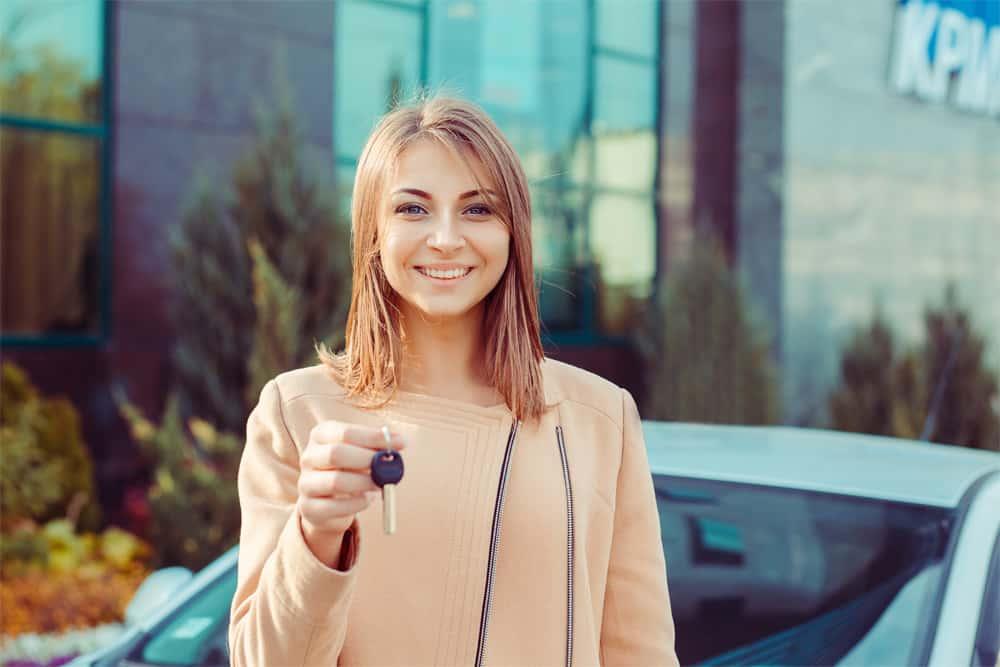 Woman with car keys