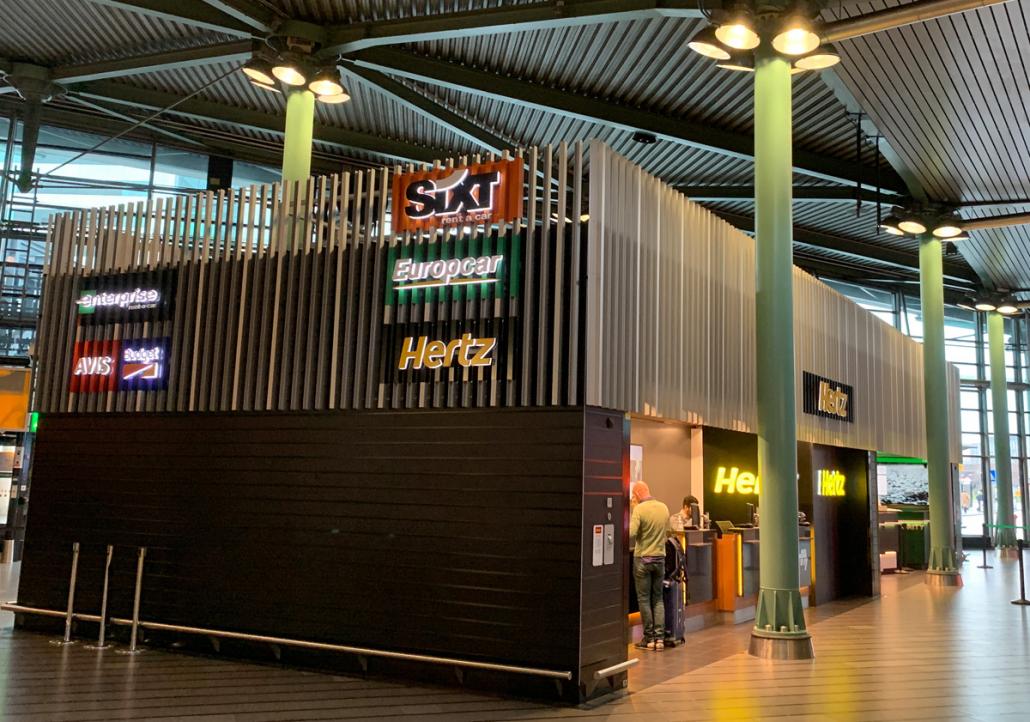 Car hire desks at Amsterdam Schiphol airport