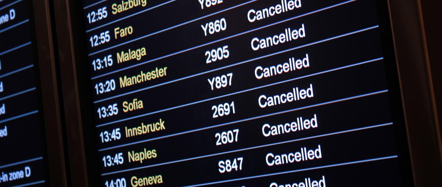 Cancelled flight departure boards