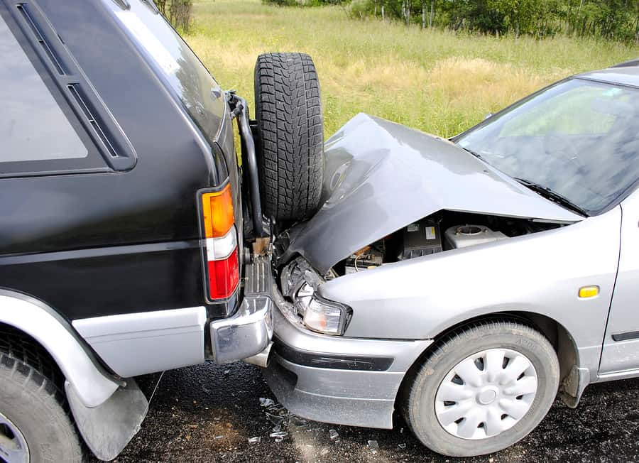 Car accident - car driven into rear of 4x4