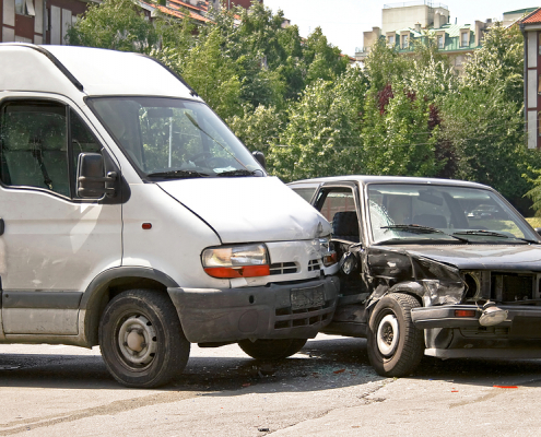 Car accident involving a van and a car