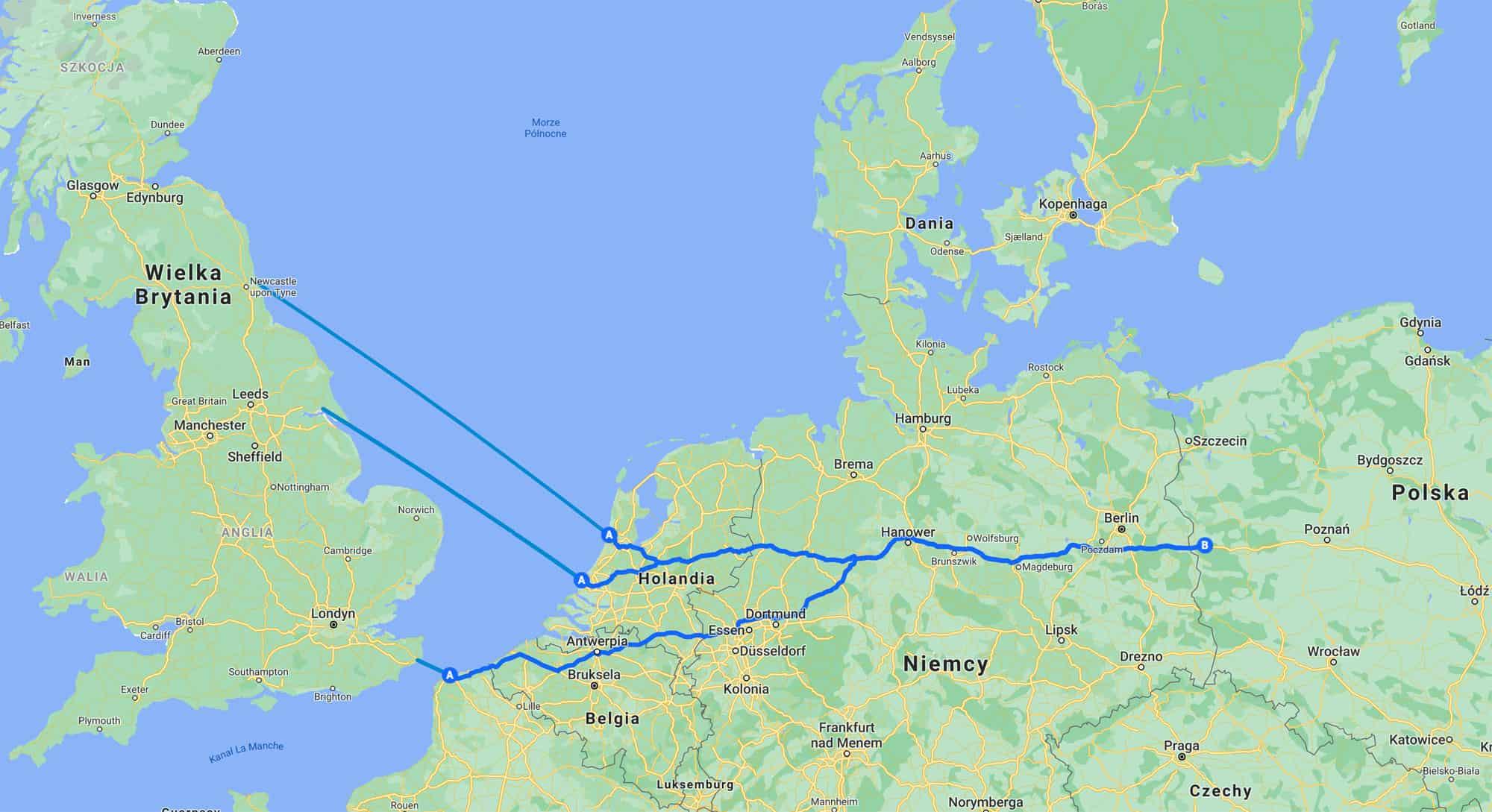 Mapa promy z Anglii do Holandii, Francji i Polski.