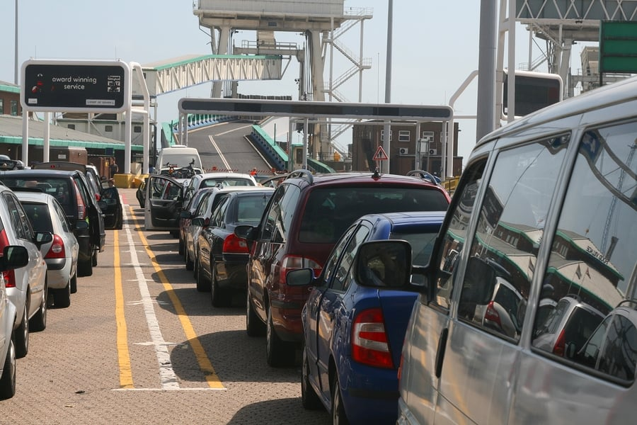 Promy - cars waiting to board a ferry