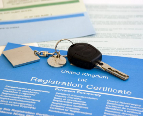 UK car registration and insurance documents