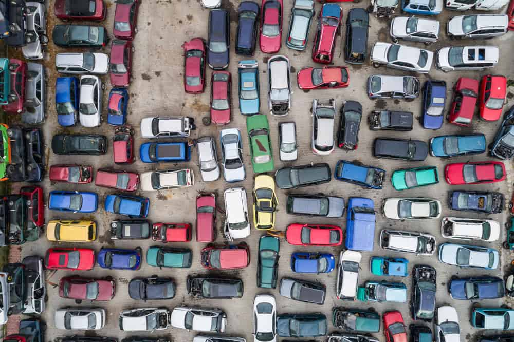 Aerial photos showing impounded cars